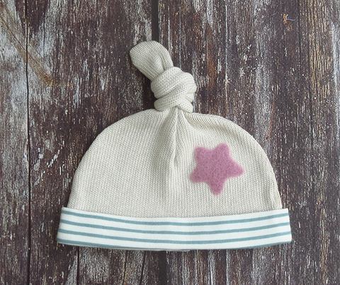 Knot top hat - sage green stripe with raspberry star