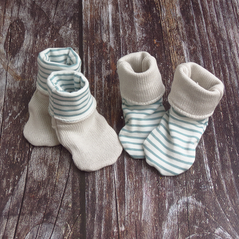 Baby booties - Sage Stripe (reversible)