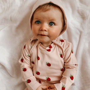 Organic Grippy Zippy Sleepsuit - Raspberry