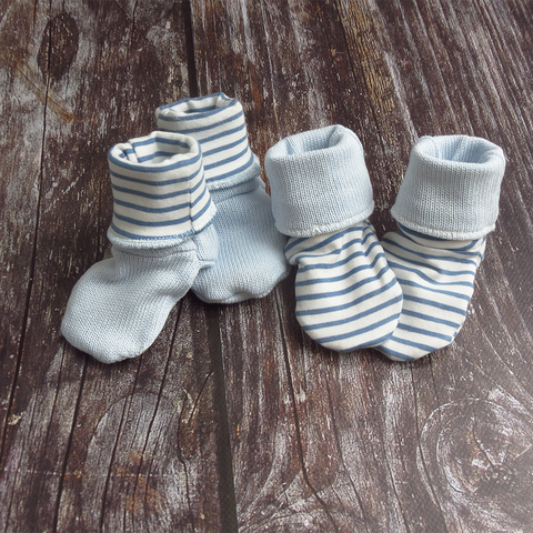 Baby booties - Blue Stripe (reversible)