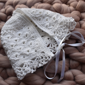 Hand crocheted heirloom bonnet