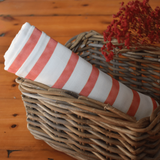 Organic Muslin - Red stripe