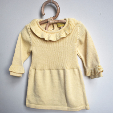 Organic cotton ruffle dress - Lemon