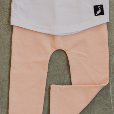 Organic fleece lined leggings - peach (limited sizes)
