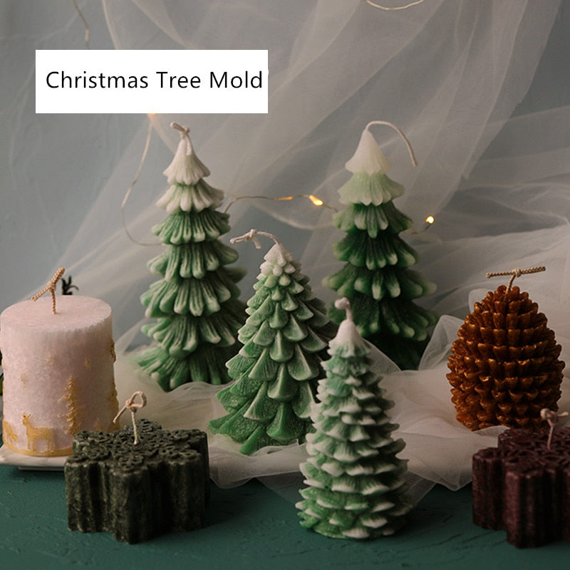 Silicone Christmas Tree, Snowflake, or Pinecone Candle Mold