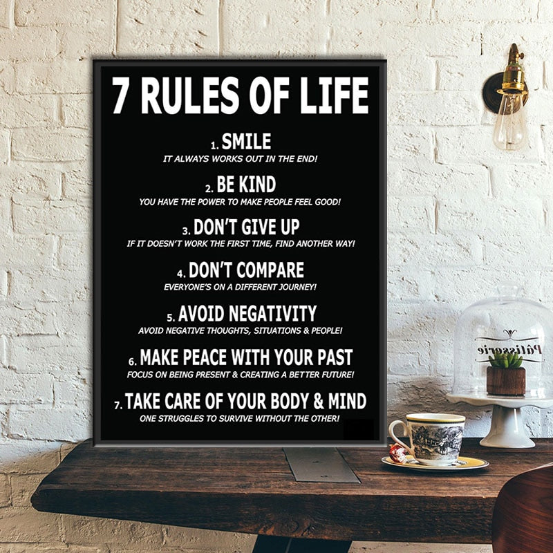 7 Rules of Life Canvas Painting (No Frame)