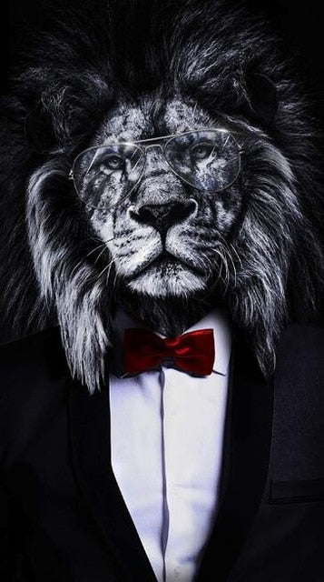 Black Wild Lion in a Suit  Art