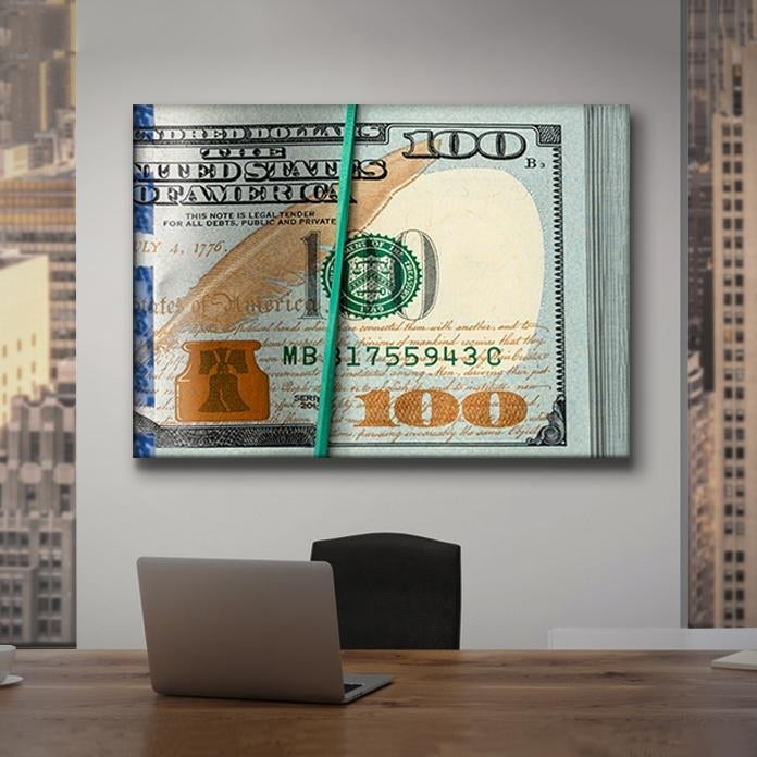 Roll of Benjamins on Canvas (No Frame)
