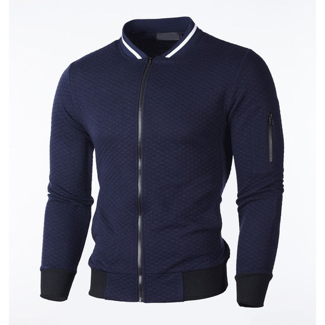 Men's Zipper Collar Cardigan Sweater