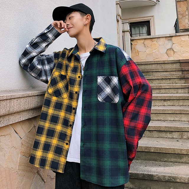 Men's Oversized Cotton Plaid Shirt