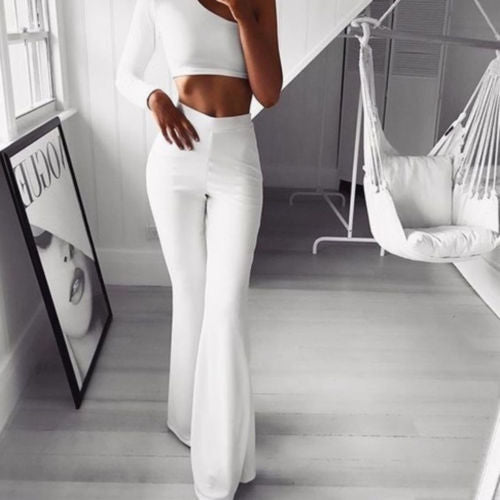Women's Solid Elegant High Waist Pants
