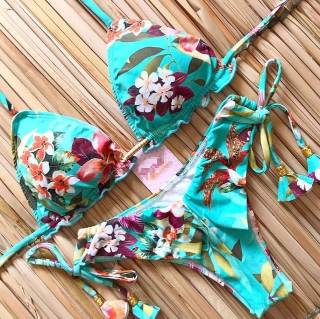 Women's Padded Summer Patterns Bikini Set
