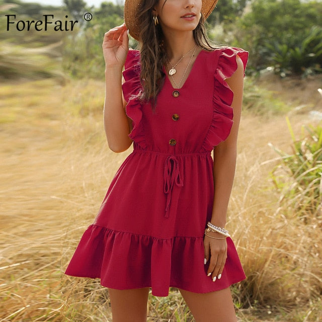 Women's Ruffle High Waist Beach Dress