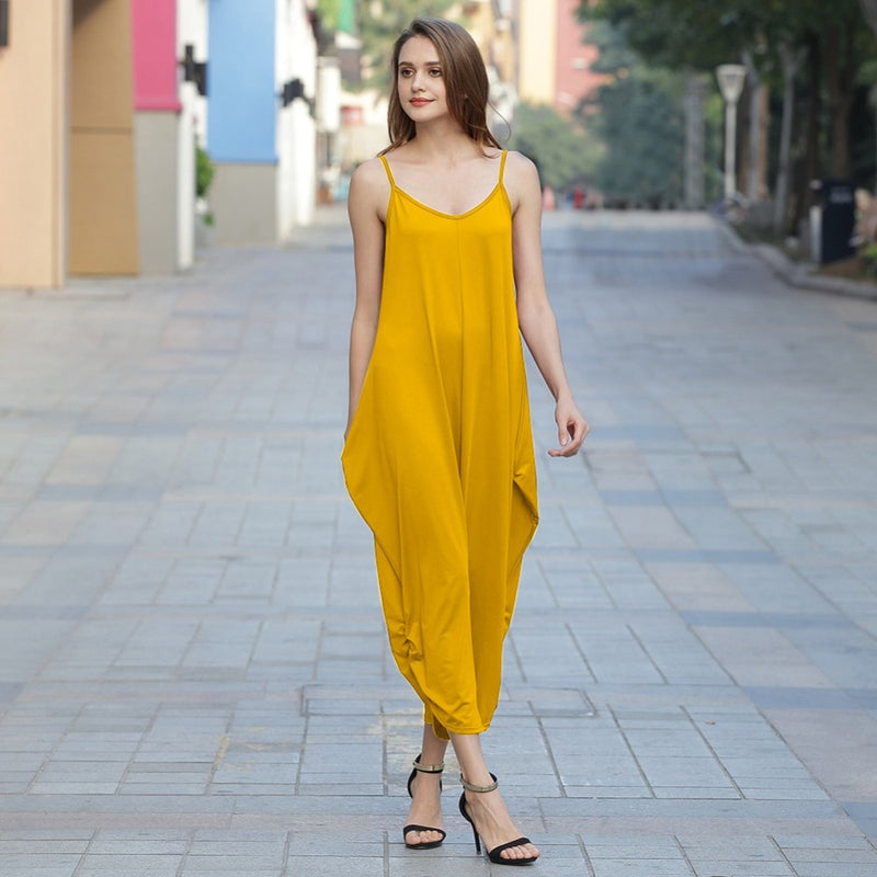 Women's Sleeveless Deep V Neck Jumpsuit