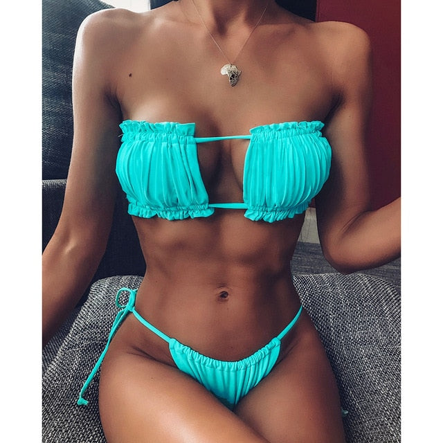 Women's Sexy Mini Thong Off Shoulder Bikini Set