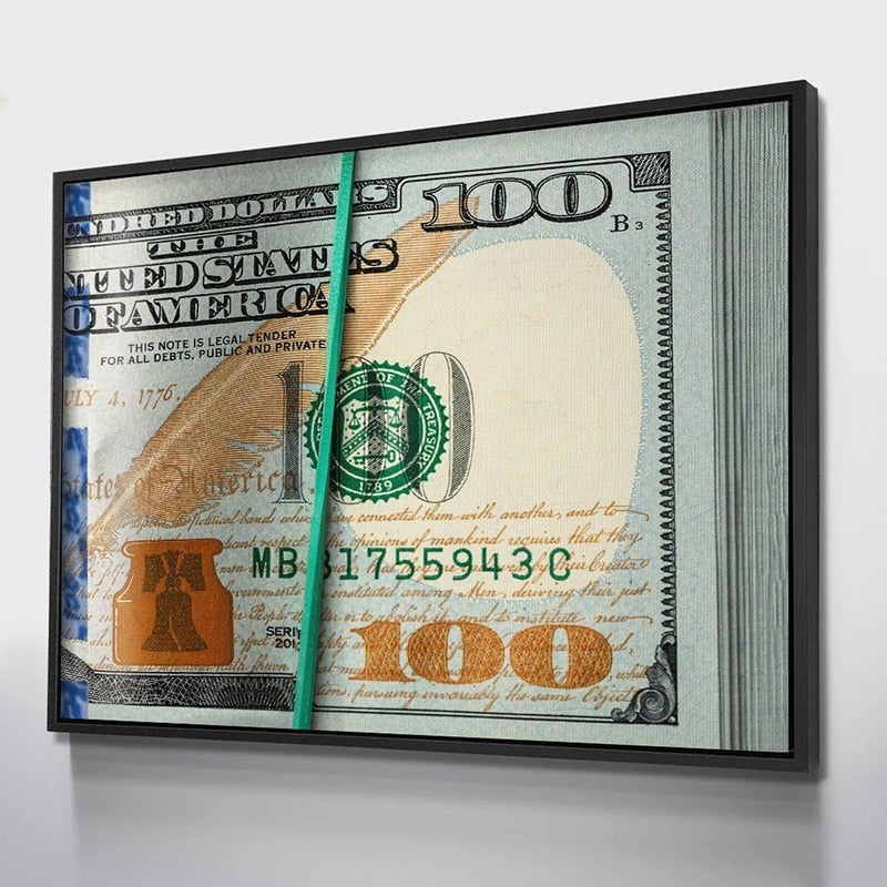 $100 Bills Clip Canvas Painting