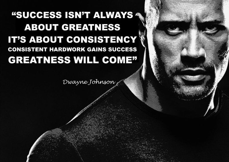 Dwayne Johnson Motivational Quote Silk Poster