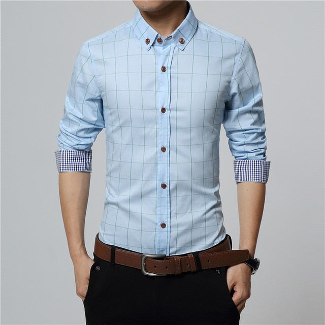 Men's Plaid Cotton Long Sleeve Dress Shirt