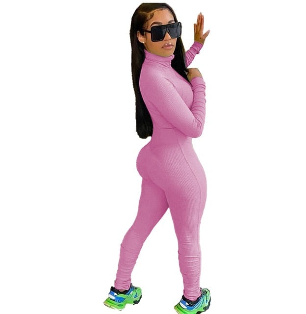 Women's Ribbed Long Sleeve Jumpsuit