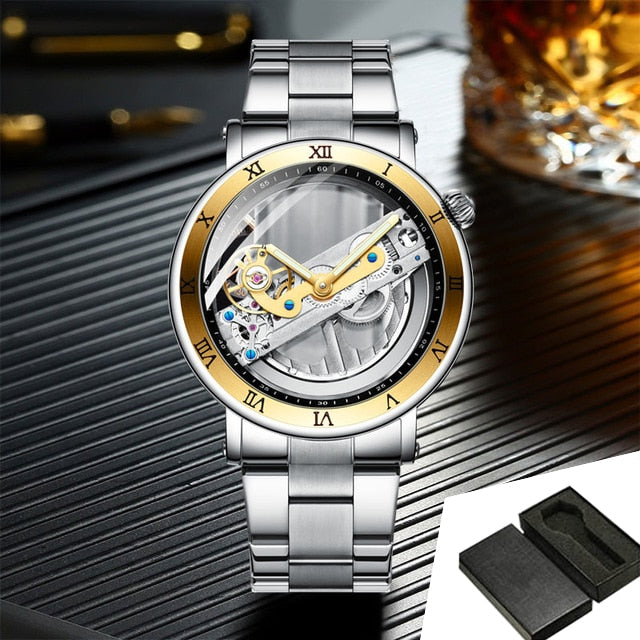 Men's Mechanical and Transparent Business Wristwatch