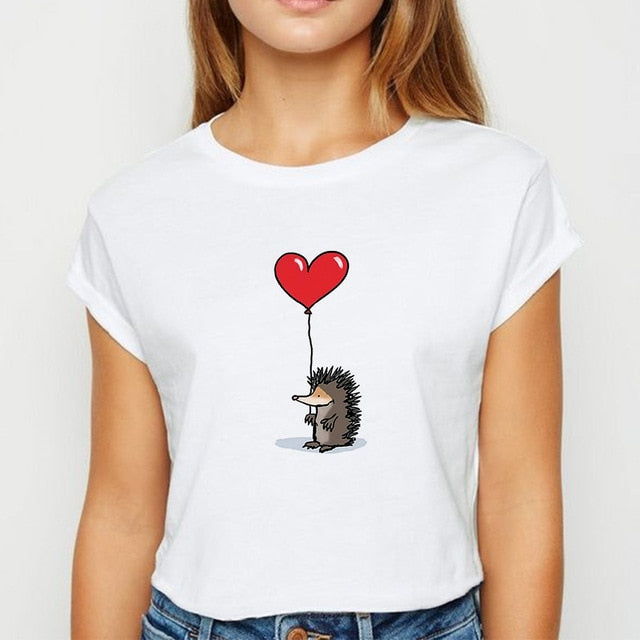 Women's Loose Print T Shirt
