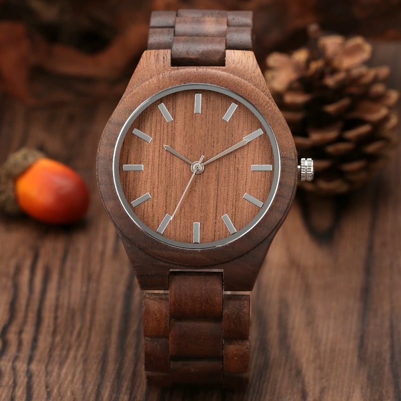 Men's Walnut Wood Quartz Wristwatches