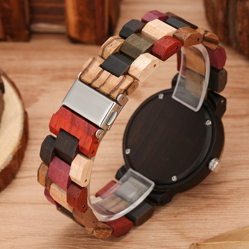 Women's Vintage Colored Wood Wristwatch