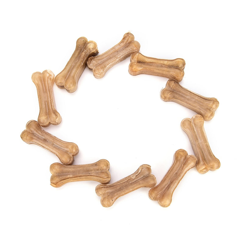 10Pcs Leather Pressed Bone Chews