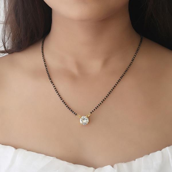 Gold Plated Single Stone Mangalsutra For Women
