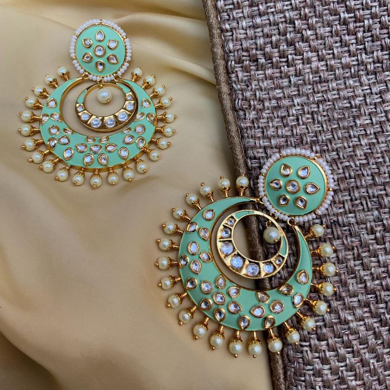 Green Pearls Studded Kundan Earring