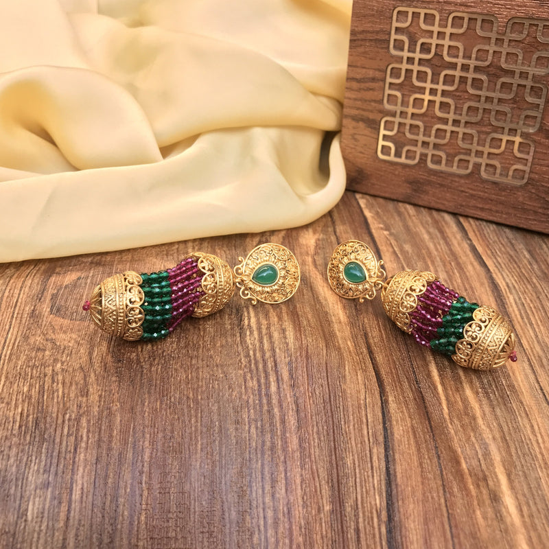Gold-Plated Green & Maroon Handcrafted Kundan Earring