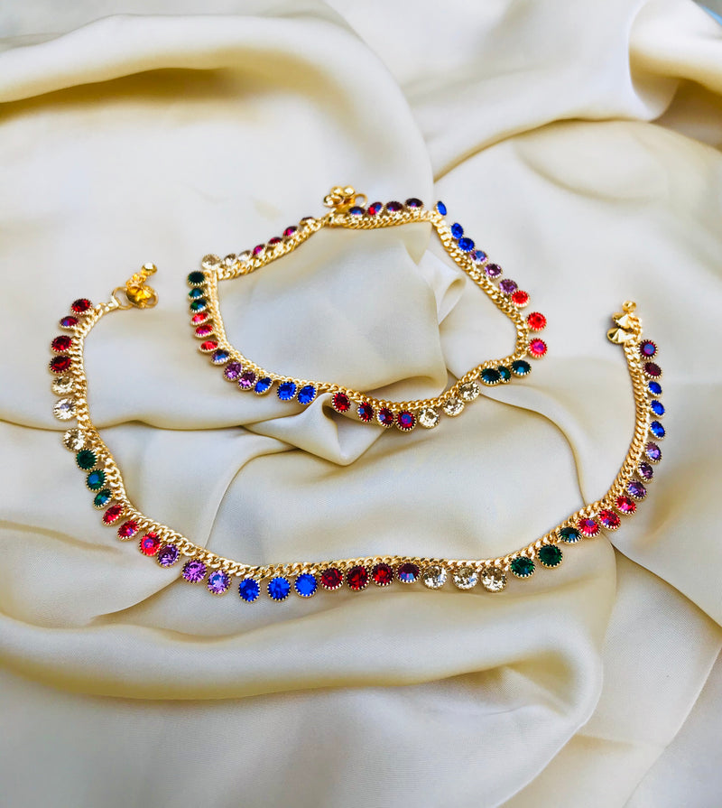 DAILYWEAR MULTICOLOUR GOLD PLATED ANKLET