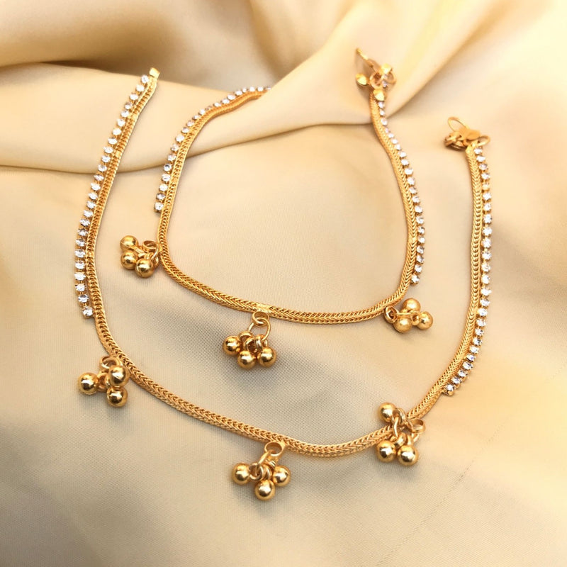 Gold Plated Diamond Gungru Anklet