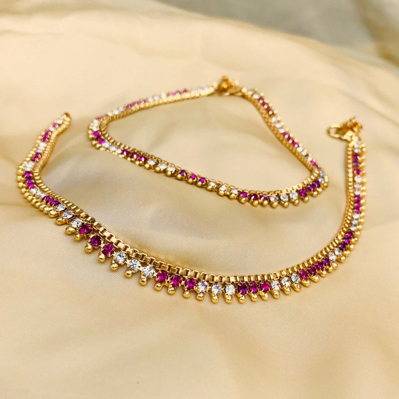 GOLD PLATED PINK COLOUR DIAMOND ANKLET
