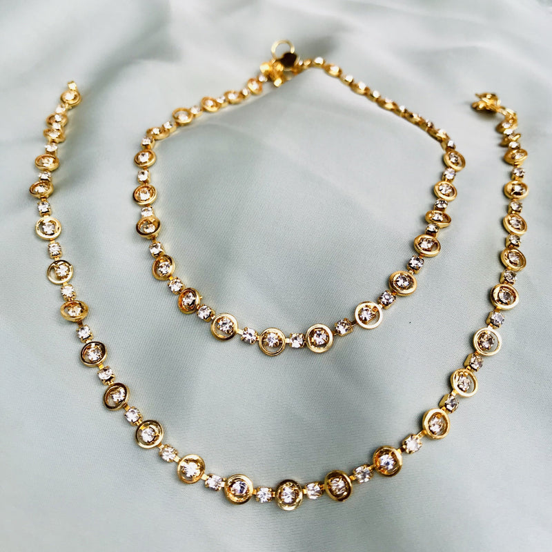 GOLD PLATED ROUND DIAMOND ANKLET
