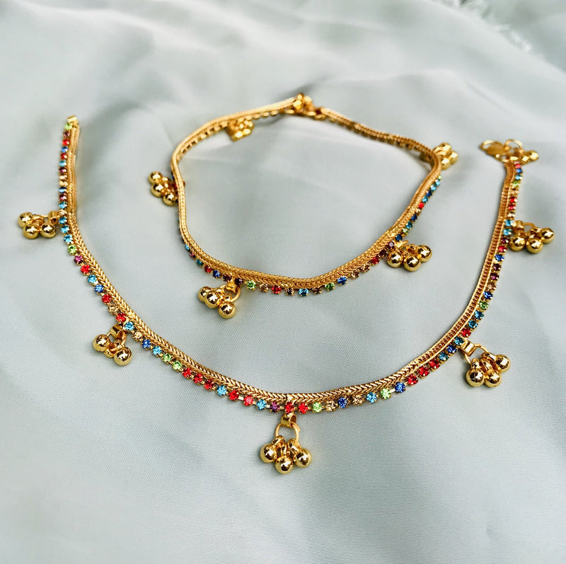 MULTICOLOUR GOLD PLATED ANKLET