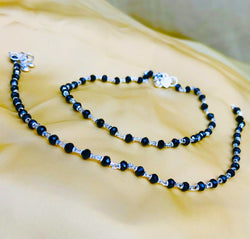 BLACK CRYSTAL BEAD ANKLET