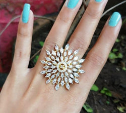 American Diamond Floral Pattern Ring