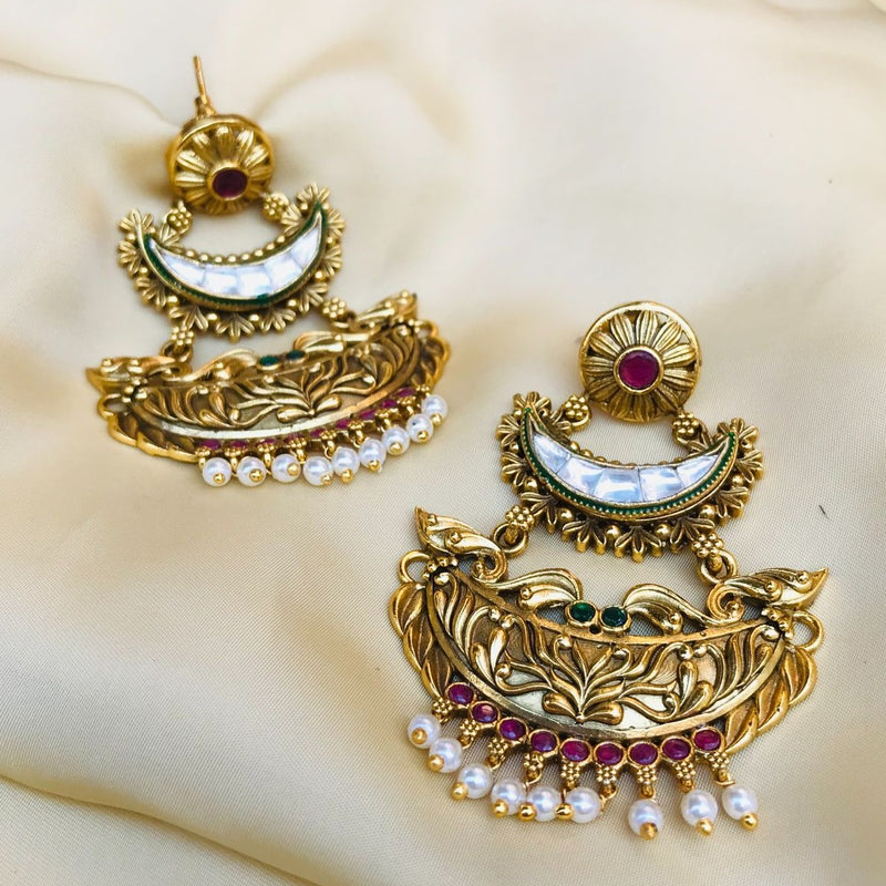 Gold Plated Antique Kundan Earrings
