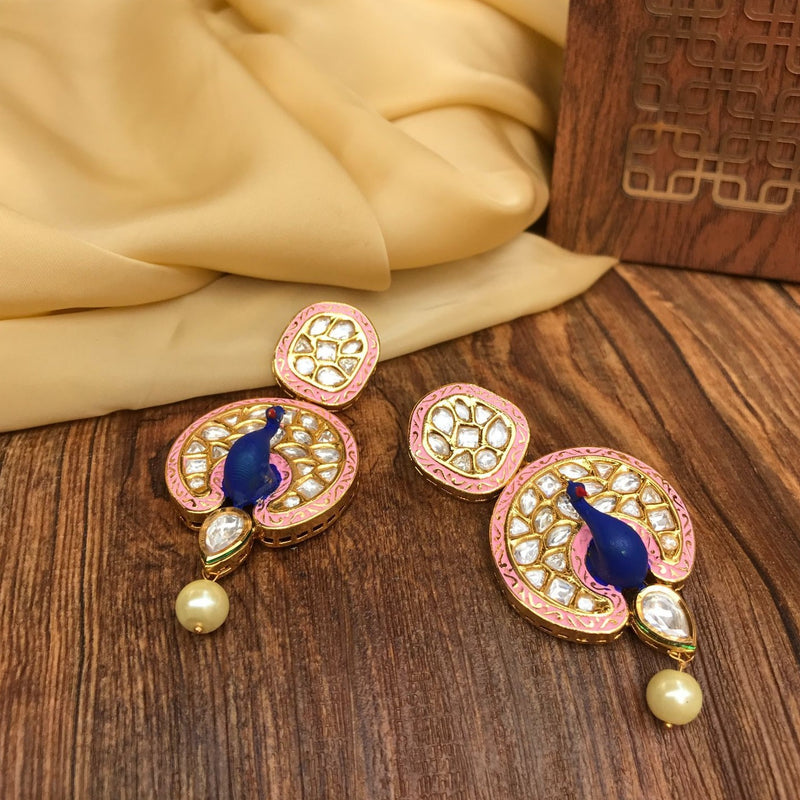Handpaint Pink & Blue Peacock Kundan Earrings