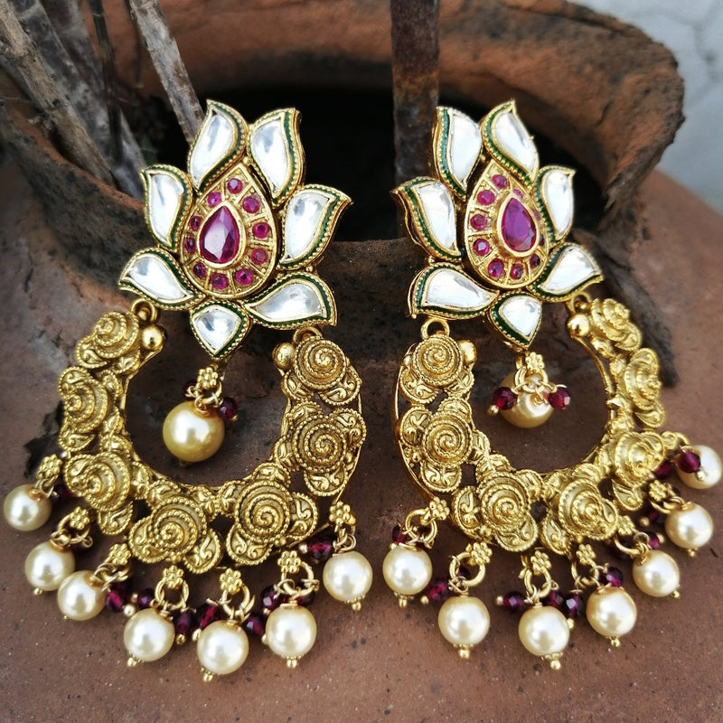 Gold Plated Lotus Design Meenakari Pearl Drop Earring
