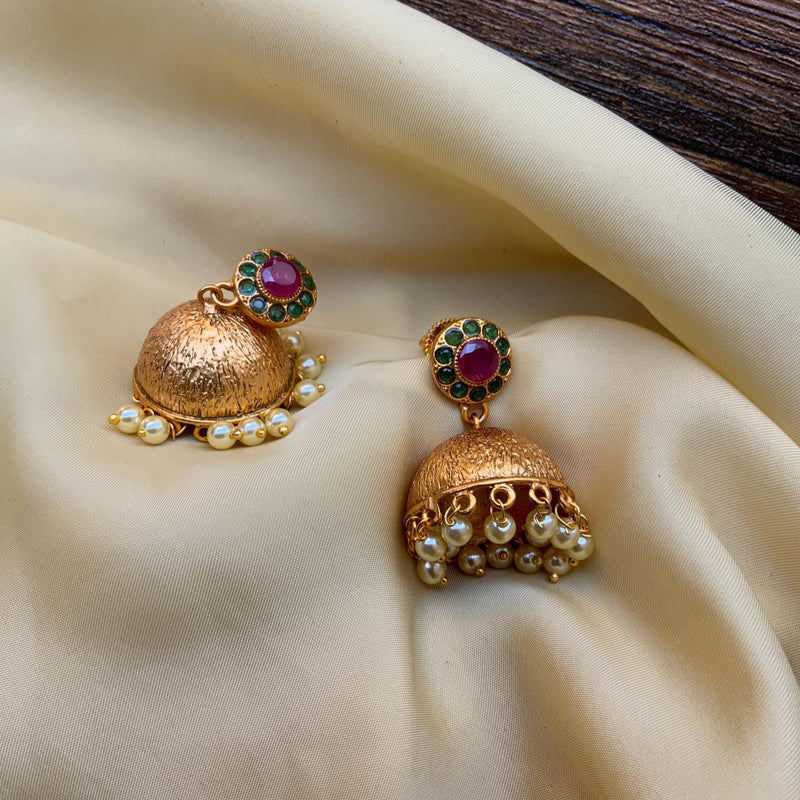 Gold Plated Antique Pearl Drop Jhumkas Earring