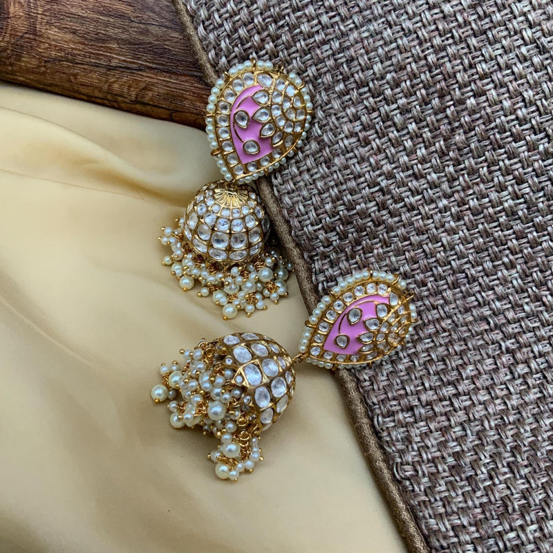 Alluring Pink Gold Plated Jadau Stone Earrings