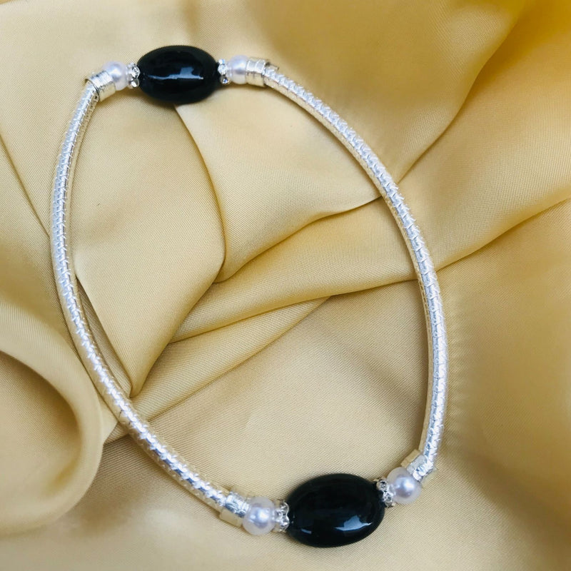 Fancy Black Bead Silver Anklet