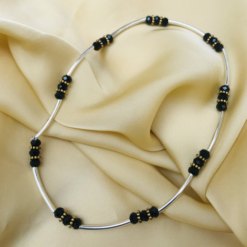 Free Size Black Bead Anklet