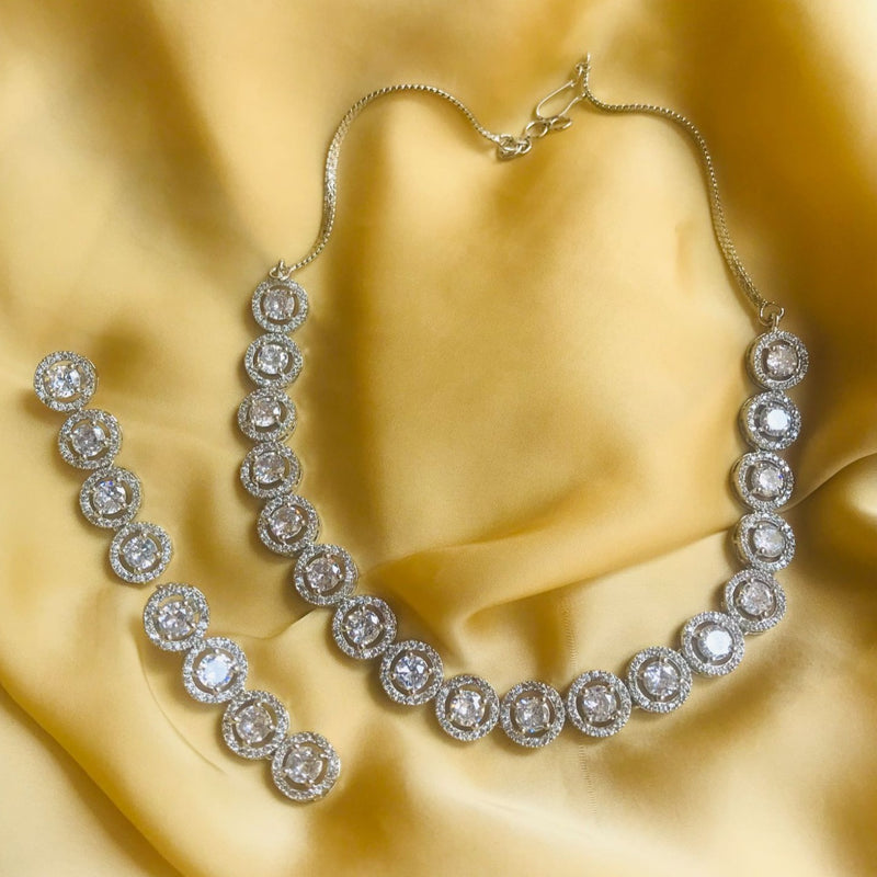 American Diamond Silver Round Necklace