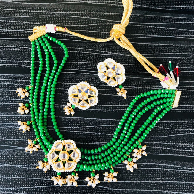Kundan Green Beaded Choker Necklace