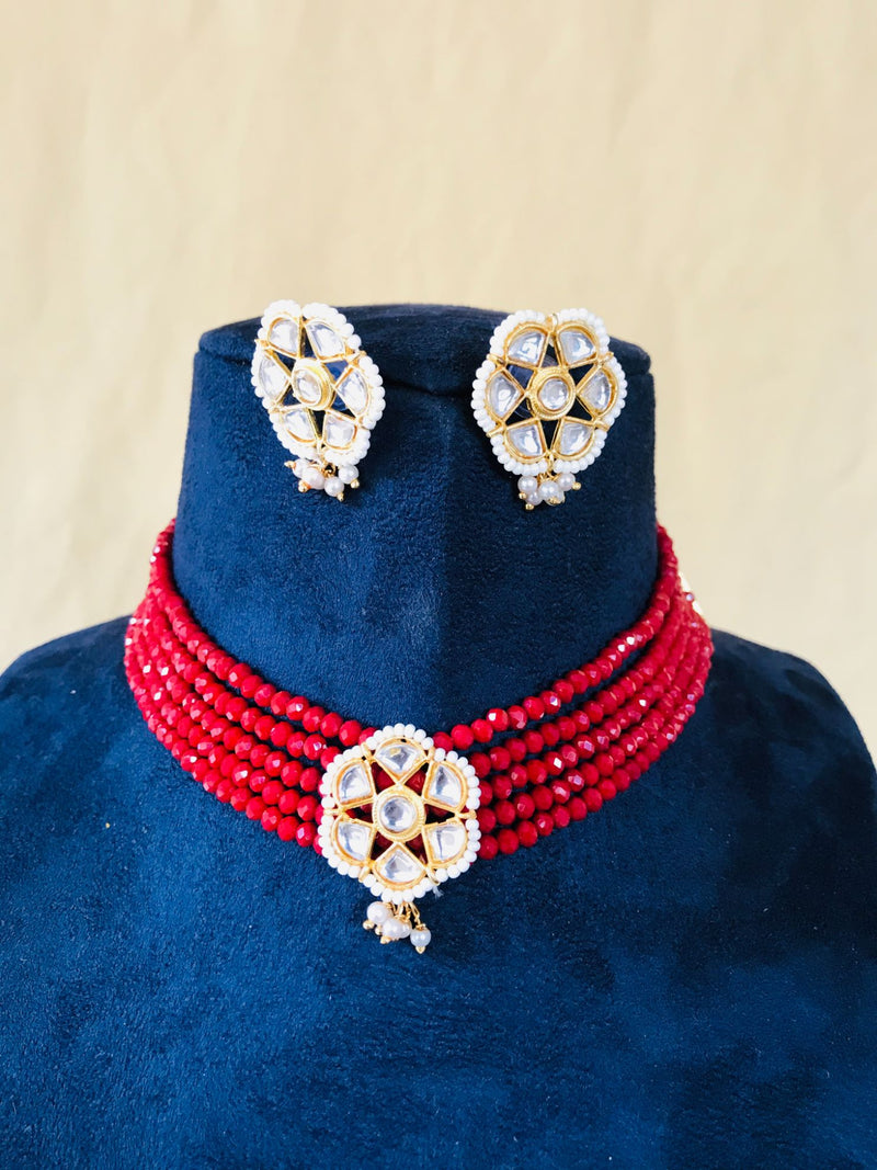 Kundan Red Beaded Choker Necklace
