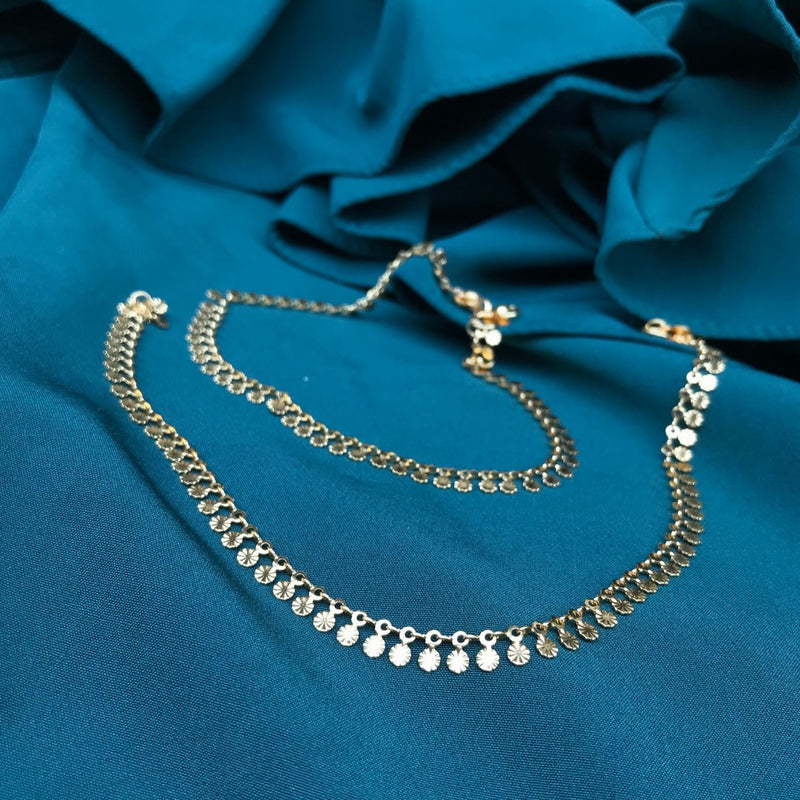 Round Pattern Gold Anklet