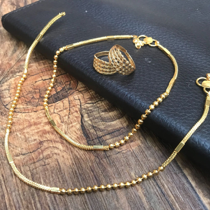 Magnificent Gold Anklet Toerings Combo Jewellery